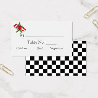 Rockabilly Herz-Rosen-Hochzeits-Platzkarten Visitenkarte