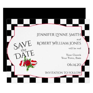 Rockabilly Herzen und Rose, die Save the Date 10,8 X 14 Cm Einladungskarte