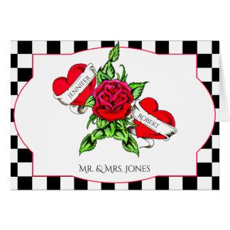Rockabilly Herzen und Rosen-Hochzeit danken Ihnen Karte