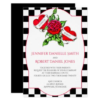 Rockabilly Herzen und Rosen-Hochzeits-Einladung 12,7 X 17,8 Cm Einladungskarte