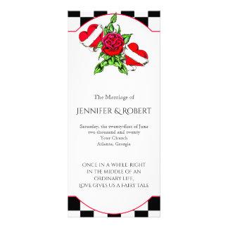 Rockabilly Herzen und Rosen-Hochzeits-Programm Werbekarte