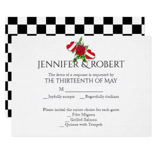 Rockabilly Herzen und Rosen-Hochzeits-Wartekarte 8,9 X 12,7 Cm Einladungskarte
