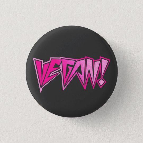 Rocker-rosa veganes runder button 2,5 cm