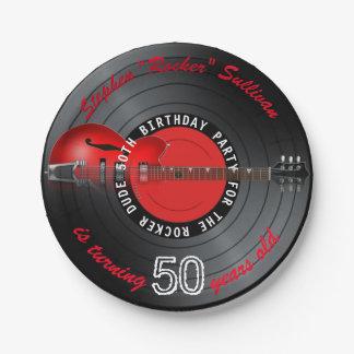 Rocker-Typ-Gitarren-Aufzeichnungs-50. Pappteller