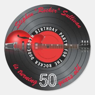 Rocker-Typ-Gitarren-Aufzeichnungs-50. Runder Aufkleber