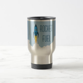 Rocket-Brennstoff-blauer Cartoon Rocketship lustig Edelstahl Thermotasse