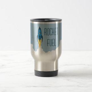 Rocket-Brennstoff-blauer Retro Cartoon Rocketship Reisebecher