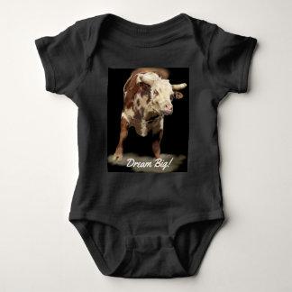 Rodeo-Thema, das Stier-Traumgroßes sich sträubt Baby Strampler