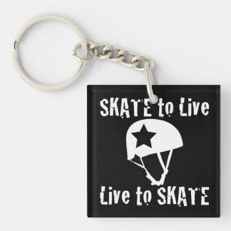 Rolle Derby, Skate zum zu leben Live zu den Einseitiger Quadratischer Acryl Schlüsselanhänger