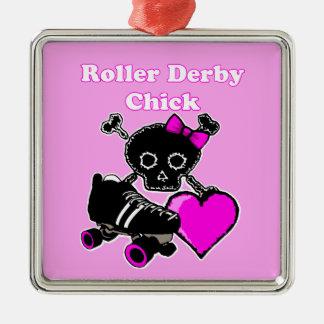 Rollen-Derby-Küken (Rosa) Silbernes Ornament
