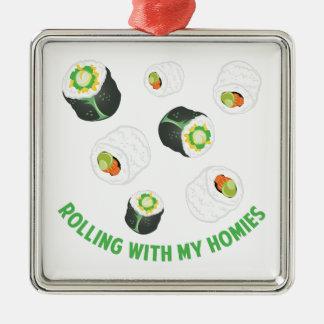 Rollen mit Homies Silbernes Ornament