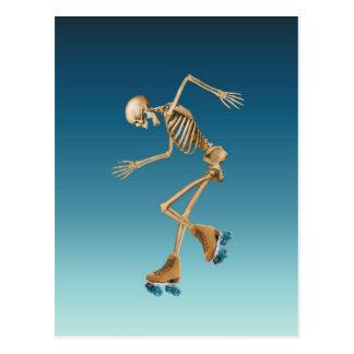 Rollen-Skaten-Skelett-Blues Postkarte