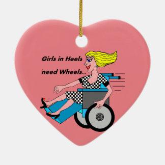 Rollstuhl-Mädchen im Heels Keramik Herz-Ornament
