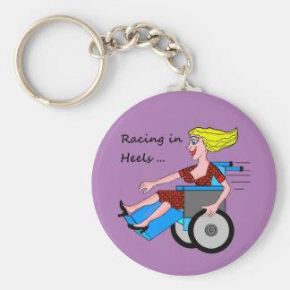 Rollstuhl-Mädchen im Heels Schlüsselanhänger