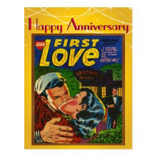 Romance erste Liebe-Comic-Abdeckungs-Vintager Postkarte