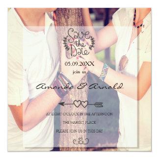 Romance Paare in den Liebe-Foto-Save the Date Quadratische 13,3 Cm Einladungskarte