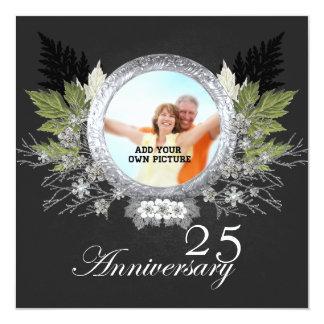 Romantic Anniversary silver invitation Quadratische 13,3 Cm Einladungskarte