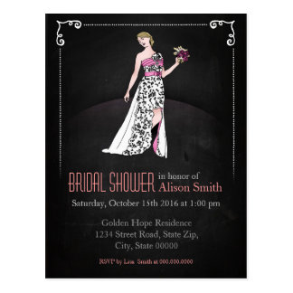 Romantic Bridal modern shower invitation Postkarte