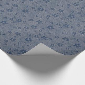 Romantische blaue Herzen u. Blumen-Muster Geschenkpapier