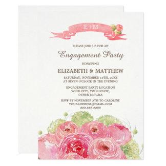 Romantische Blumenentwurfs-Verlobungs-Party 12,7 X 17,8 Cm Einladungskarte