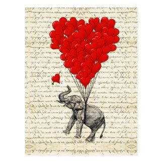 Romantische Elefant- u. Herzballone Postkarte