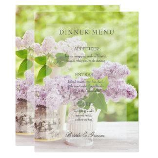 Romantische Frühlings-Blumen-lila Hochzeits-mit Karte