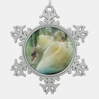 Romantische Frühlings-Swan See-Weiß-Schwäne Schneeflocken Zinn-Ornament