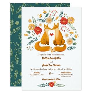 Romantische Füchse und rustikale Karte