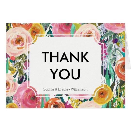 Romantische Gartenwatercolor-Blumen danken Ihnen Mitteilungskarte