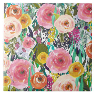 Romantische Gartenwatercolor-Blumen Keramikfliese