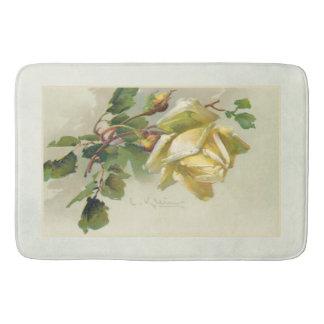 Romantische gelbe Vintage Rosen Badematte