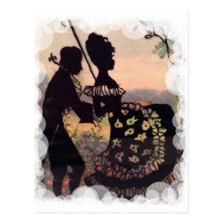 Romantische georgische schwingpaare postkarten