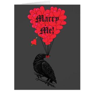 Romantische gotische Krähe heiraten mich Karte