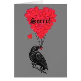 Romantische gotische Krähe und Herz traurig Grußkarte