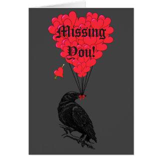 Romantische gotische Krähe vermisst Sie Mitteilungskarte