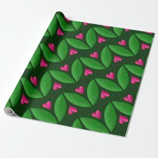 Romantische Herzen und Blätter - grün und rosa Geschenkpapier
