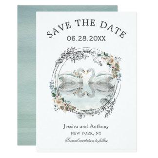 Romantische Hochzeits-Schwäne Save the Date Karte