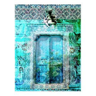 Romantische italienische Renaissance-Tür mit Engel Postkarte