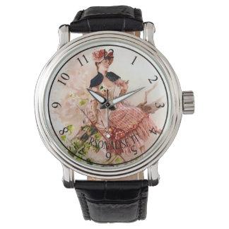 Romantische junge Frau Uhr