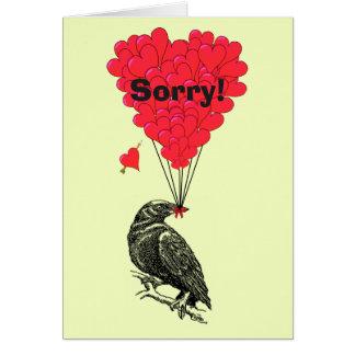 Romantische Krähe und Herz des Spaßes traurig Mitteilungskarte