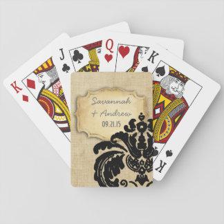 Romantische Leinwand-Vintager Goldschwarz-Damast Spielkarten