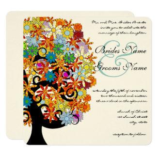 Romantische Liebe-Baum-Hochzeits-Einladung Quadratische 13,3 Cm Einladungskarte