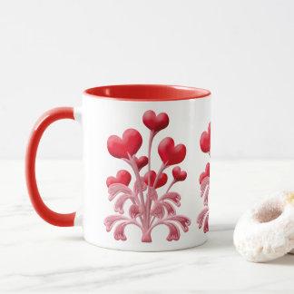 Romantische Liebe blüht rote Herzvalentines-Blume Tasse