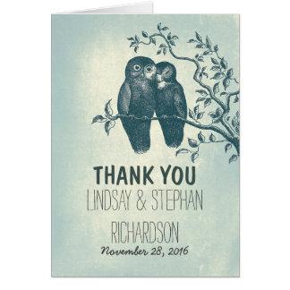 romantische Liebeeulen-Paarhochzeit danken Ihnen Karte