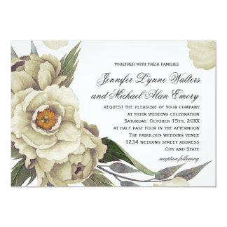 Romantische Pfingstrosen-Blumeneleganz-Hochzeit 12,7 X 17,8 Cm Einladungskarte