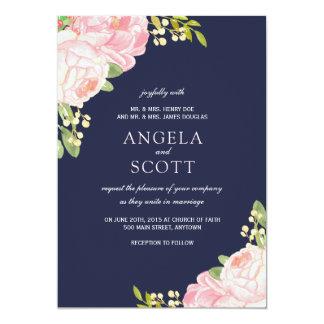 Romantische rosa Pfingstrose auf 12,7 X 17,8 Cm Einladungskarte