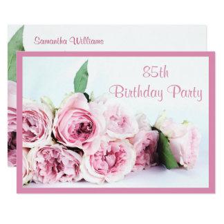 Romantische Rosa Rosen 85. Geburtstag Karte