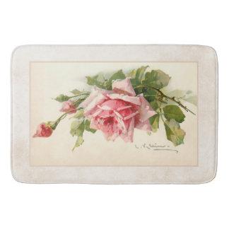 Romantische rosa Rosen auf Handwerker-Hintergrund Badematte