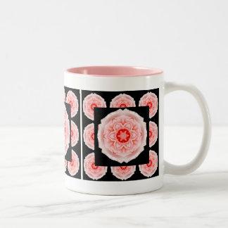 Romantische rosa Rosen-Musterkaffee-Tasse Zweifarbige Tasse