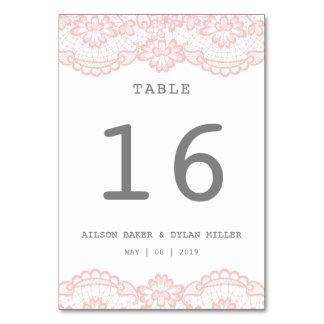 Romantische rosa Spitze-Hochzeits-Tabellen-Karte Karte